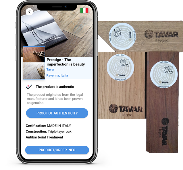 Authentication label with NFC on Tavar products