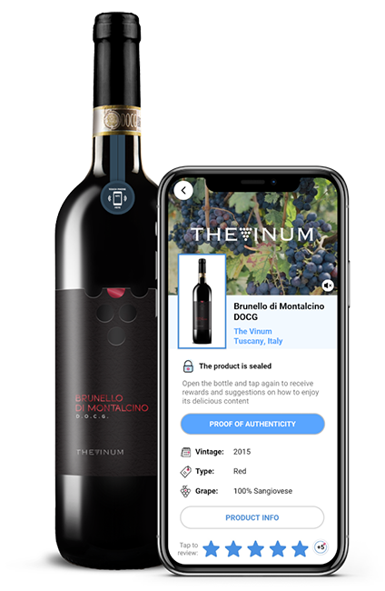 NFC authentication label for The Vinum brand wines